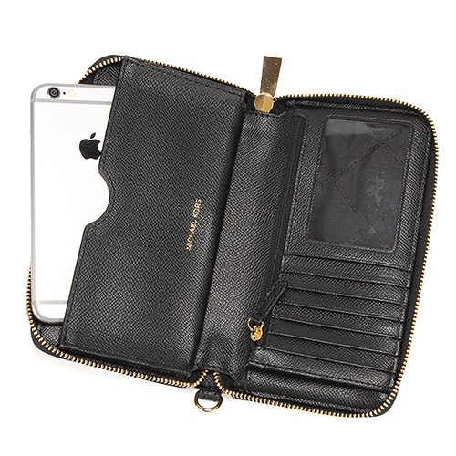 MICHAEL KORS防刮皮革多功能手機長夾(黑色)618077-1