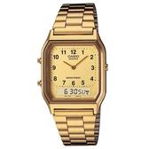 【CASIO】都會風情經典雙顯錶-數字金面(AQ-230GA-9B)