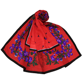 Christian Dior古典花卉羊毛混絲大披肩圍巾(紅色)179013-1