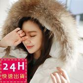 梨卡 - 韓國空運大毛領超美中長版連帽仿羽絨鋪棉保暖風衣外套大衣A416-1