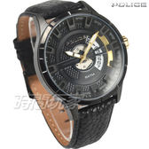 POLICE 義大利精品 粗曠大氣立體時刻時尚男錶 防水手錶 運動錶 日期窗 黑 真皮錶帶 14678JSB-02