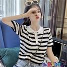 短袖POLO衫 POLO領短款條紋短袖t恤女夏寬鬆韓版潮打底衫內搭洋氣針織上衣寶貝計畫 上新
