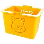 小禮堂 迪士尼 小熊維尼 日本製 迷你塑膠提籃 (橘大臉款) 4548626-14753