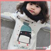 童裝 韓版可愛聖誕企鵝加絨長袖上衣 T恤