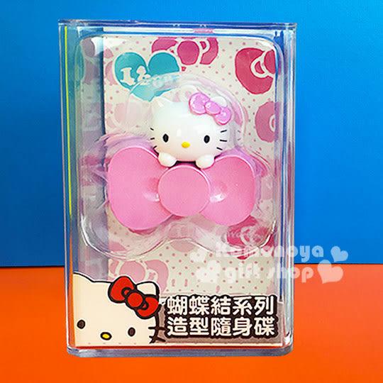 〔小禮堂〕Hello Kitty 造型隨身碟《粉.大臉.蝴蝶結.16G》精美透明盒裝 4712389-89857