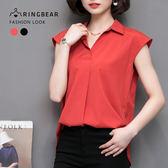 氣質襯衫--氣質優雅OL無袖寬鬆襯衫領修飾弧線下擺上衣(黑.紅M-3L)-H182眼圈熊中大尺碼