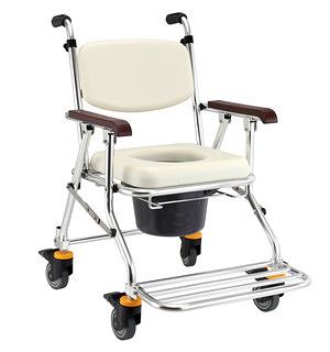 便浴椅 JCS-208 鋁合金可收合有輪洗澡便器椅