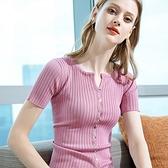 冰絲針織衫圓領開衫鈕扣短袖緊身素色上衣(四色S-2XL可選)/設計家 AL50211