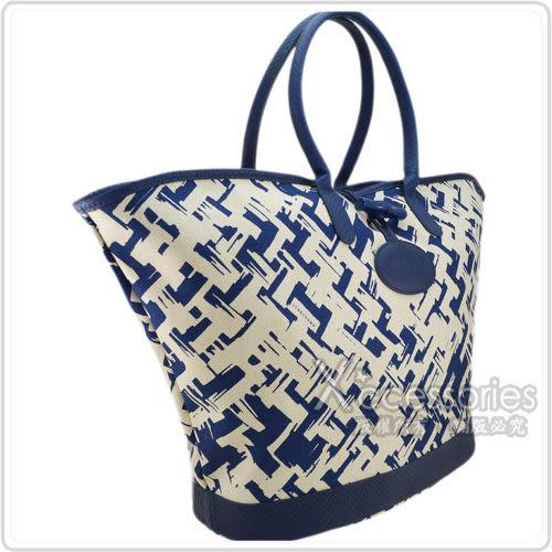 LONGCHAMP 異國風情編織效果設計手提肩背包(靛藍/大)