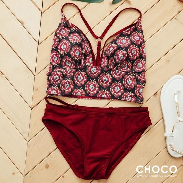 Choco Shop-濃情艷陽下‧二件式印花美背款泳衣(紅色) M~XL