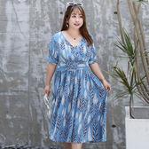中大尺碼~立體剪裁側拉鍊雪紡短袖洋裝(XL~4XL)