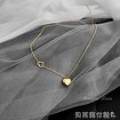 項鍊不掉色日韓版簡約短款鎖骨鍊18k包金心形吊墜鈦鋼鍍金項鍊女禮物 新品