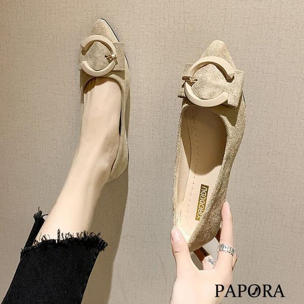 PAPORA時尚C釦輕盈娃娃平底包鞋KQ168黑/米/紅