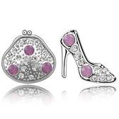 水晶耳環 925純銀(耳針式)-鑲鑽高跟鞋包包生日聖誕節交換禮物女飾品4色73bd114[時尚巴黎]