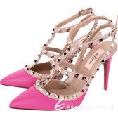 VALENTINO ROCKSTUD 鉚釘繫帶高跟鞋(桃紅色) 1610020-41