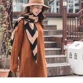 《ZC1757》雙色緹花三角造型披肩/圍巾 OrangeBear