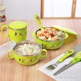 新款不銹鋼兒童碗餐具套裝寶寶碗抗摔隔熱保溫碗筷勺叉哺食碗-ifashion