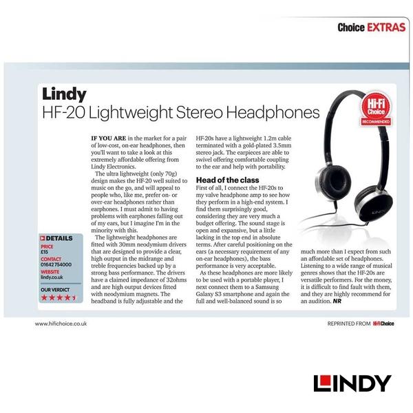 ◤大洋國際電子◢ LINDY 林帝 20257 - 輕型頭戴式HI-FI耳機 (缺貨)