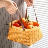 野餐籃 Kens木編皮提手收納籃 家居收納野餐籃收納筐編織水果籃文藝提籃 星隕閣