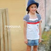 PINKNANA童裝 女童春夏條紋棉質上衣 中大童白色T恤T12006