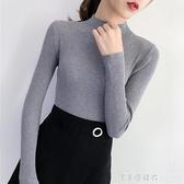 秋冬裝2020新款上衣女士毛衣半高領修身長袖內搭黑色打底衫針織衫 美眉新品