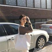 帆布包 包包 新款白色大容量帆布包女文藝單肩韓國簡約百搭手提購物袋 小宅女