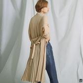 東京著衣-FashionLetter-排扣綁繩百摺雪紡襯衫連衣裙-M.L(6190012)