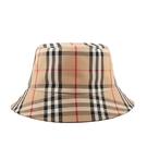 【BURBERRY】XS號 Vintage 格紋科技布料棉質漁夫帽(典藏米色) 8026927 A7026