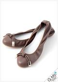 G.Ms. 金釦小扭結真皮平底娃娃鞋-咖啡色