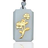 金鑲玉項鍊 和闐玉吊墜-優雅玫瑰花生日情人節禮物男女飾品73gf79【時尚巴黎】