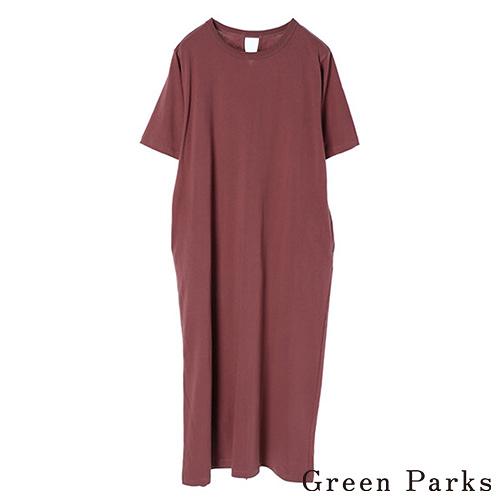 「Hot item」後開衩連身休閒洋裝 - Green Parks