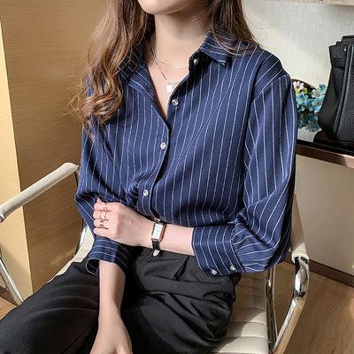 長袖上衣 襯衫女8012秋裝女士條紋顯瘦襯衫小眾輕熟七分袖上衣T653-A.1號公館