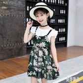 女童兩件式洋裝 夏季新款兩件套碎花雪紡裙假兩件套短袖公主裙 aj3065『美好時光』