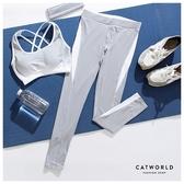 Catworld 後腰文字拼色彈力運動褲【12001957】‧S-XL