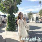 2018新款女裝春裝泰國潮牌沙灘裙海邊度假夏季溫柔蕾絲白色連身裙