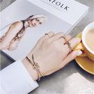 Qmishop 韓版直運 歐美風簡約手工編織蝴蝶結 打結造型金屬開口手鐲手環【G2061】