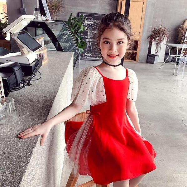 女童洋裝紅色兒童裙新款女孩夏裝洋氣裙子雪紡中大童公主裙 伊衫風尚