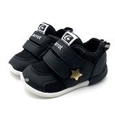 《7+1童鞋》寶寶 日本月星 MOONSTAR 透氣網布 機能運動鞋 學步鞋 D448 黑色