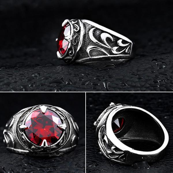 《 QBOX 》FASHION 飾品【R10BR8-270】精緻個性仿舊宮廷式寶石鑄造鈦鋼戒指/戒環