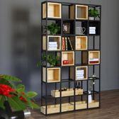 屏風 隔斷鐵藝屏風展示柜工業風置物架餐廳玄關客廳裝飾實木書架貨架墻