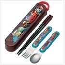 日本 DISNEY 麥昆CAR'S car's 湯叉筷三件組/湯匙/筷子/叉子/日本製/攜帶餐具環保餐具