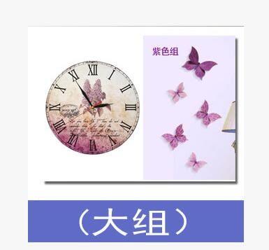 歐美田園風臥室客廳創意掛鐘背景牆面浪漫蝴蝶裝飾靜音鐘錶