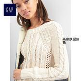Gap女裝-舒適粗棒針織插肩長袖圓領上衣 845613-燕麥狀泥灰色