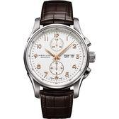 Hamilton 漢米爾頓 JAZZMASTER 時尚達人計時機械腕錶-白x咖啡/42mm H32766513