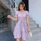 洋裝短袖洋裝連身裙小眾桔梗格子連身裙女新款韓版收腰顯瘦初戀裙3F-C003-D 韓依紡