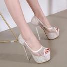 高跟鞋 17CM超高跟細跟高跟鞋魚嘴單鞋韓國公主夜店性感恨天高水鉆女婚鞋 降價兩天