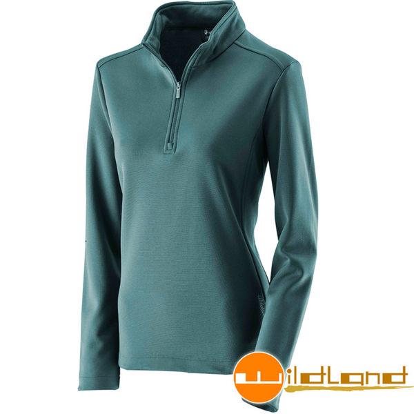 Wildland 荒野 0A22605-47藍綠色 女抗菌除臭保暖上衣