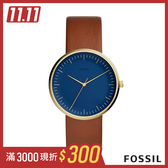 FOSSIL Essentialist 極簡風格中性錶-藍底棕錶帶 42mm