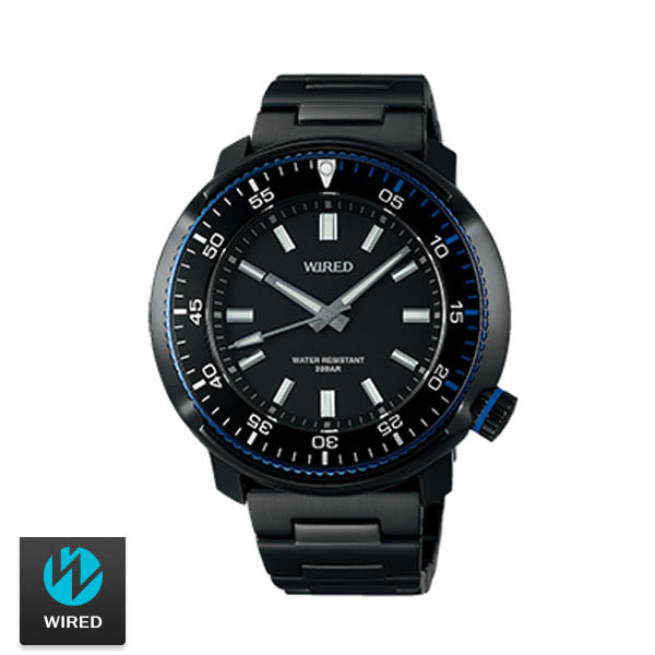 WIRED SEIKO副牌 鮪魚罐三針素面黑鋼男錶 45mm VH31-KGC0SD AY8034X1 | 名人鐘錶