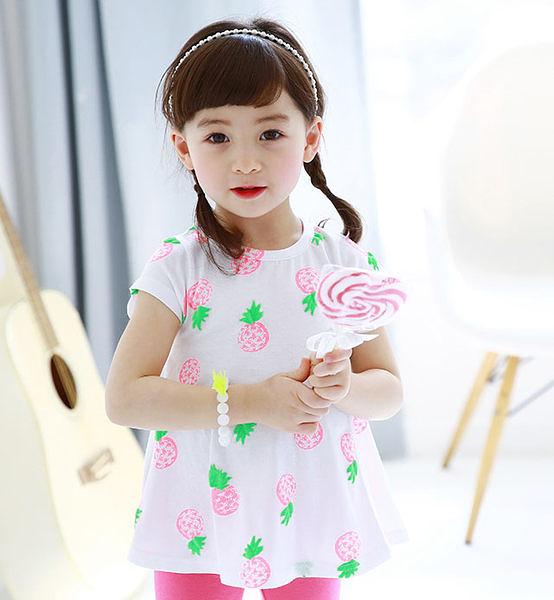 女嬰女童裝上衣可愛小鳳梨舒適上衣-韓國進口製造